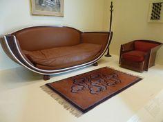 Marcel Coard - Sofa for Jacques Doucet's studio Art Deco Sofa, Art Deco Furniture, Modern Furniture, Marcel, Art Nouveau, Dining Suites, Walnut Veneer, Art Deco Design, Bauhaus