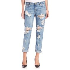 One Teaspoon Awesome Baggies Distressed Cropped Boyfriend Jeans ($145) ❤ liked on Polyvore featuring jeans, apparel & accessories, cobain, distressing jeans, blue jeans, boyfriend fit jeans, ripped boyfriend jeans and torn jeans