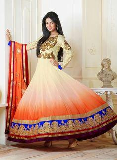 Sonal Chauhan - Designer Georgette Orange White Anarkali Salwar Kameez