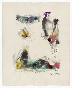 """Roberto Matta. Untitled from VVV Portfolio. 1942, published 1943. Watercolor and pencil from a portfolio of five etchings (one with aquatint), three duplicated drawings (two watercolor on paper and one crayon on paper), one collage, one engraving, and one gelatin silver print. composition: 12 7/16 x 11 1/8"""" (31.6 x 28.3 cm); sheet: 16 3/4 x 13 11/16"""" (42.5 x 34.8 cm). VVV, New York. 50 announced, approx. 20 issued. The Louis E. Stern Collection. 1113.1964.8. © 2016 Artists Rights Society…"""