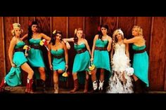 This is a fantastic photo - we LOVE the turquoise dresses, the red barn, and the cowboy boots. So much sass in one picture! #cowboyboots #westernwedding #countrywedding