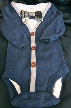 Cutest baby boy cardigan onesie with bowtie