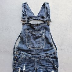 Ripped denim medium wash overalls - Cotton Spandex Baggy overalls with distressing and rips down the front. Womens Fashion Online, Latest Fashion For Women, Trendy Swimwear, Mamma Mia, Ripped Denim, Mean Girls, Look Cool, Overall Shorts, In This World