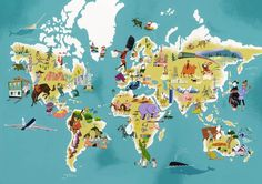 The world seen by illustrator Satoshi Hashimoto. I would love this print for C's room.