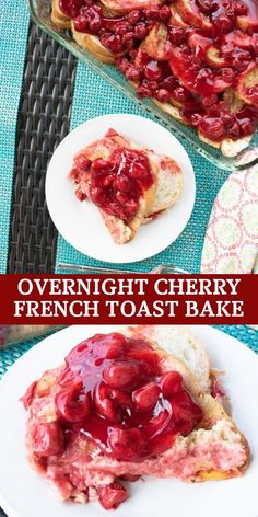 This overnight cherry French toast bake is an ideal make ahead breakfast to feed the whole family. The cherry pie filling makes it extra special and perfect for a holiday brunch or special occasion. Make Ahead French Toast, Crockpot French Toast, Homemade French Toast, Overnight French Toast, French Toast Bake, Make Ahead Breakfast Casserole, Breakfast Bake, Sweet Breakfast, Breakfast Dishes