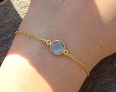 Turquoise Blue White Gold Minimalist Bracelet Simple by cocolocca