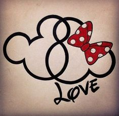Disney Mickey & Minnie head tatoo- I like the infinity symbol hidden in the heads Art Disney, Disney Kunst, Disney Crafts, Disney Love, Disney Family, Desenho Tattoo, Mickey Minnie Mouse, Mickey And Minnie Tattoos, Hidden Mickey Tattoo