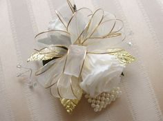 corsages for 50th wedding anniversary | 50TH Golden WEDDING Anniversary CORSAGE, ... | Parents 50th Anniversa ...