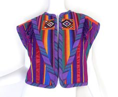 Vintage 80s Embroidered Guatemalan Style Cropped Vest - Colorful Striped Margaret Platt Women's Cropped Vest in Blue Purple Red Green Yellow