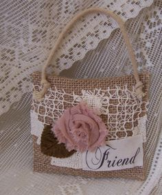 Friendship Christmas ornament or door hanger burlap feed sack mini pillow shabby chic