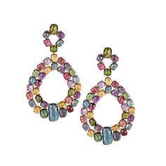 Marco Bicego Murano 18K Yellow Gold & Mixed Stone Open Drop Earrings