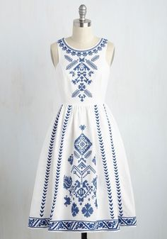 Cross-Stitch My Heart Dress. Maybe it was fate that brought this white dress into your life, or perhaps your sharp eye is to thank. Casual Dresses, Short Dresses, Fashion Dresses, Summer Dresses, Evening Dresses, Dresses Dresses, Formal Dresses, Simple Dresses, Fashion Clothes