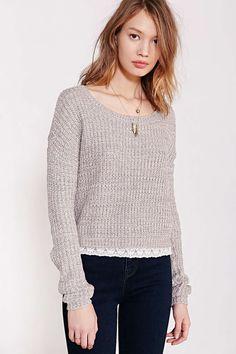 e70a7622db Blu Pepper Lace Trim Pullover Sweater