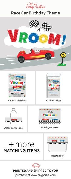 """Get the complete look for your party with the Race Car """"Vroom"""" birthday theme from Say Partie. Choose from our online invitation, paper invitations, thank you cards, cupcake toppers, water bottle labels, tent cards, bag toppers, favor labels and more. #kidsbirthday #birthdayparty #kids #racecarparty #invitations #saypartie @saypartie"""