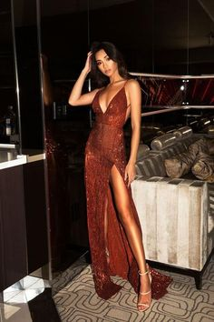 Sexy Sequin Sparkly Red Split Mermaid Prom Dresses, Fashion Style, Spaghetti Straps Prom Dress inch ( height is from your top head to your Elegant Dresses, Pretty Dresses, Sexy Dresses, Beautiful Dresses, Evening Dresses, Fashion Dresses, Fashion 2018, Sparkly Dresses, Long Dresses