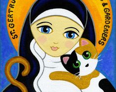 Items similar to Saint Gertrude With Cats and Mice Silhouette Icon ...