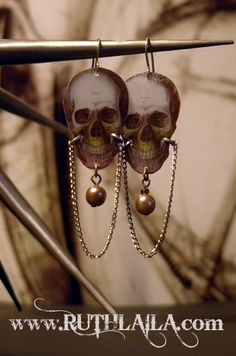 Skull earrings by Ruth Laila Steffensen. Silver, Shrink Plastic and and mixed metal.