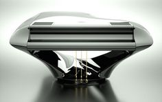 Hungarian pianist Gergely Bogányi has designed this sumptuous piano in order to improve the sound quality. Beyond the special features, the pure aesthetic of the instrument is unusual and is raised to the rank of sculpture. Piano Shop, Piano Art, Recording Equipment, Recorder Music, Sculpture, Musical Instruments, Inventions, Pure Products, Product Design