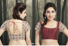Photo: Fabric : Dupion Silk Pattern : Embroidered in gold resham threads on shoulders and back. Golden thread border. tassle strings dangling from back. Sleeves : Short Sleeve Neck : Square Neck Button : Front Color : Maroon Size : Bust size 32 to bust size 50. blouse come with 2 inch garment margin.blouse comes with padding write to heenamsampat@gmail.com your order number and bust size. Use discount code CVAGDGH254. visit www.craftsvilla.com/muhenera for buying. or be the first to book it…