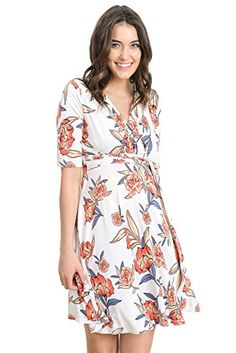 60e0e43663c5 LaClef Flower Print V-Neck 3 4 Sleeve Baby Shower Front Tie Wrap Maternity  Dress at Amazon Women s Clothing store