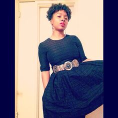 """""""Sunday, she is all I need. Come and rest your bones with me...""""#ootd #style #fashion #mycloset #browngirlbluegrass #morning #teamnatural #type4naturals #afroliciouswomen #4chairchicks #berrycurly #myhaircrush #dress #black #acessories #redlips #sunday"""