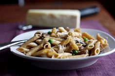 Pasta with carmelized onions, mushrooms, and goat cheese. This will be dinner tonight except I'm using asiago cheese, whole wheat pasta, and chicken. YUM!