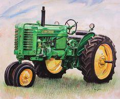 John Deere Tractor Painting  - John Deere Tractor Fine Art Print