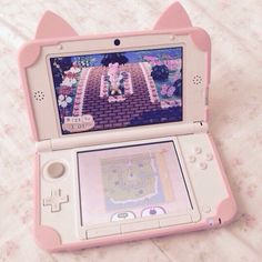 My fave thing about this is the case it's so kawaii Animal Crossing, Kawaii Games, Collage Des Photos, Hello Kitty, Tout Rose, Otaku Room, Kawaii Room, Game Room Design, Gamer Room
