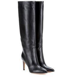 Dana black leather knee-high boots