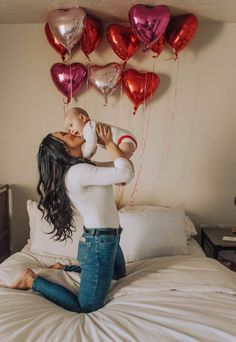 Valentine's Day, Heart Balloons, Mom Style, high waisted jeans, bodysuit, Baby