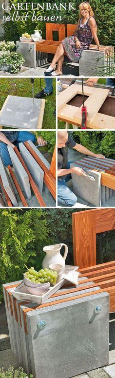 Die Kombination von unterschiedlichen Materialien liegt voll im Trend. Holz und Beton zum Beispiel! Wir haben eine Gartenbank aus Holz und Beton selbst gebaut. Statt den Beton mühevoll selbst zu gießen, haben wir Gehwegplatten genutzt. Somit geht der Bau sehr viel schneller. Das Ergebnis kann sich sehen lassen!