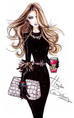Chic with coffee woman illustration