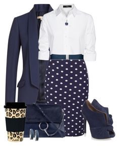 """CHERYL' Polka Dot Skirt by arjanadesign on Polyvore featuring Steffen Schraut, Michael Kors, Nine West, Chloé, GUESS, Miadora, Lauren Ralph Lauren, C.R. Gibson, women's clothing and women's fashion"