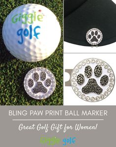 Paw Print bling golf ball marker with hat clip. Great golf gift for women!  Giggle Golf - Fun Golf Accessories for Women. 02bcb2ce24ee