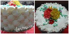 Bolo de baunilha com recheio de doce de coco decorado com tufos de  fondant e aplicação de flores para aniversário feminino