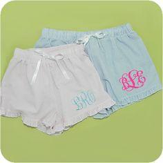 Seersucker Ruffled Lounge Shorts
