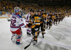 April 23, 2016 vs. New York Rangers (Round 1, Game 5): The #Pens scored four goals in the second period, including two from Bryan Rust, to defeat New York and advance to Round 2. Final score, 6-3 Penguins.