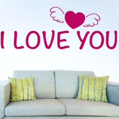 "Style and Apply I Love You Wall Decal Size: 18"" H x 46"" W, Color: Pink"