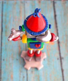 Robot Birthday Cake Topper Red Ben Mini Sculpture $40.00