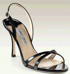 Jimmy Choo India Mirrored Leather Sandals Black