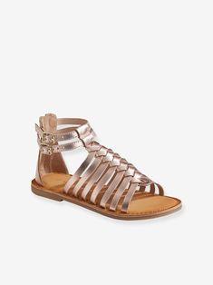 Sandales cuir fille esprit spartiates - argent multicolore+noir+rose métal - 11 Short Fille, Gladiator Sandals, Noir Rose, Composition, Shoes, Style, Products, Embroidered Shorts, Beach Sandals
