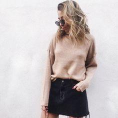 knit sweater, jean skirt