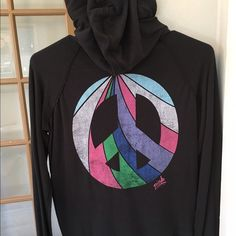 Victoria Secret PINK hoodie This is such a cute light weight black sweater to put over any outfit, goes with everything and so comfortable  PINK Victoria's Secret Tops Tees - Long Sleeve