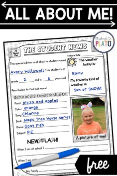 All About Me Free Printable - Playdough To Plato About Me Activities, Back To School Activities, New School Year, First Day Of School, Magic Treehouse, First Grade Teachers, Preschool Kindergarten, Student Learning, Teaching Resources