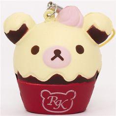red Rilakkuma bear cupcake squishy cellphone charm