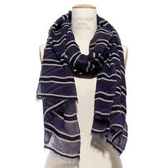 Madewell Navy Sheer Striped Scarf