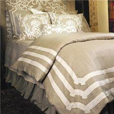 Lili Alessandra Angie Linen Natural & White Duvet Cover or Set