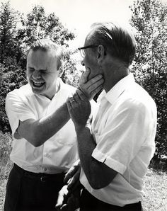 "Leonard Dowdy and Warner Stenquist share a laugh.  Warner's wife and Leonard's former teacher, Gertrude, wrote of this series of photographs: ""Not only words, but laughter come from communication.""  Leonard was a close friend of the family and spent time with them throughout his life. Visit the Perkins Archives Flicker page: http://www.flickr.com/photos/perkinsarchive/collections/"