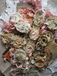 Fabric flowers   LOVE