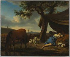 Sleeping Shepherds, 1663 Adriaen van de Velde (Dutch, 1636-1672) oil on wood, Framed - h:38.50 w:43.50 d:5.00 cm (h:15 1/8 w:17 1/8 d:1 15/1...via Cleveland Art Museum